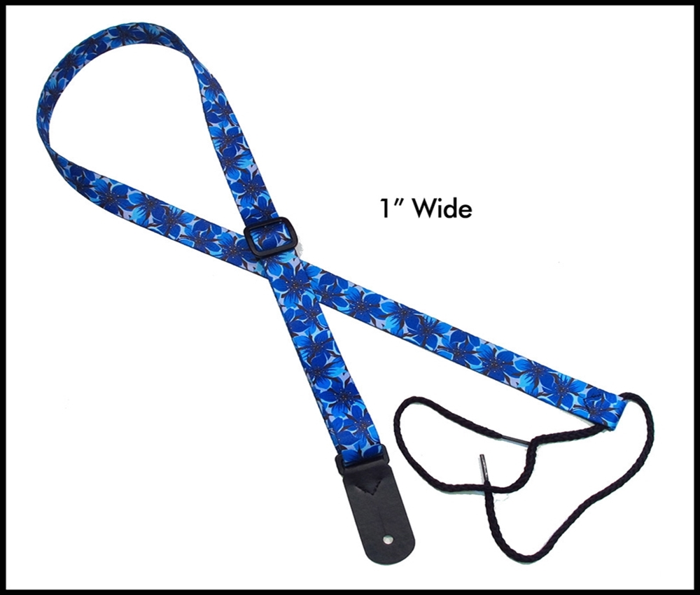 Blue Flower 1 Inch Mandolin Strap